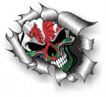 Ripped Torn Metal Design With Skull & Welsh Wales CYMRU Flag External Vinyl Car Sticker 105x130mm